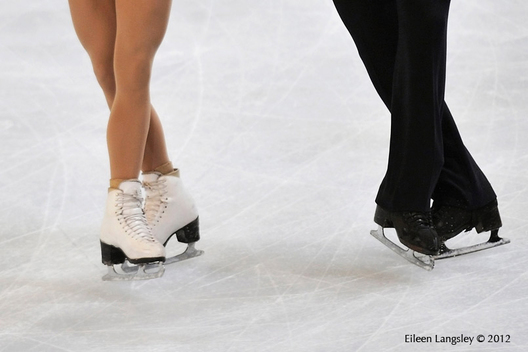 A generic image of the boots and blades of ice dancers at the 2012 ISU Grand Prix Trophy Eric Bompard at the Palais Omnisports Bercy