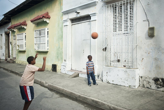 A simple basketball hoop works to shoot at in the Getsemaní neighborhood of Cartagena