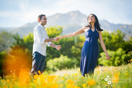 Santa Barbara mountains poppies engagement photos - in orange poppy field, California
