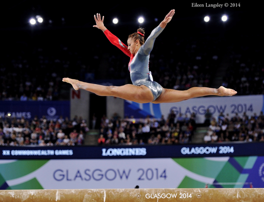 Rebecca Downie (England) competing on Balance beam at the 2014 Glasgow Commonwealth Games.