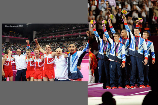 The British men's team and their coaches celebrate winning the bronze medal in the team competition of the Gymnastics event at the 2012 London Olympic Games.