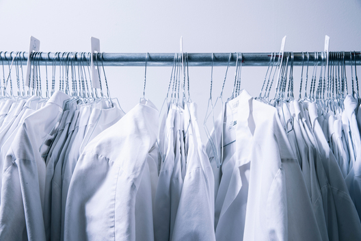 Lab coats are seen at the R&D lab inside Impossible Foods headquarters in Redwood City, Calif. on Thursday, June 20, 2019.