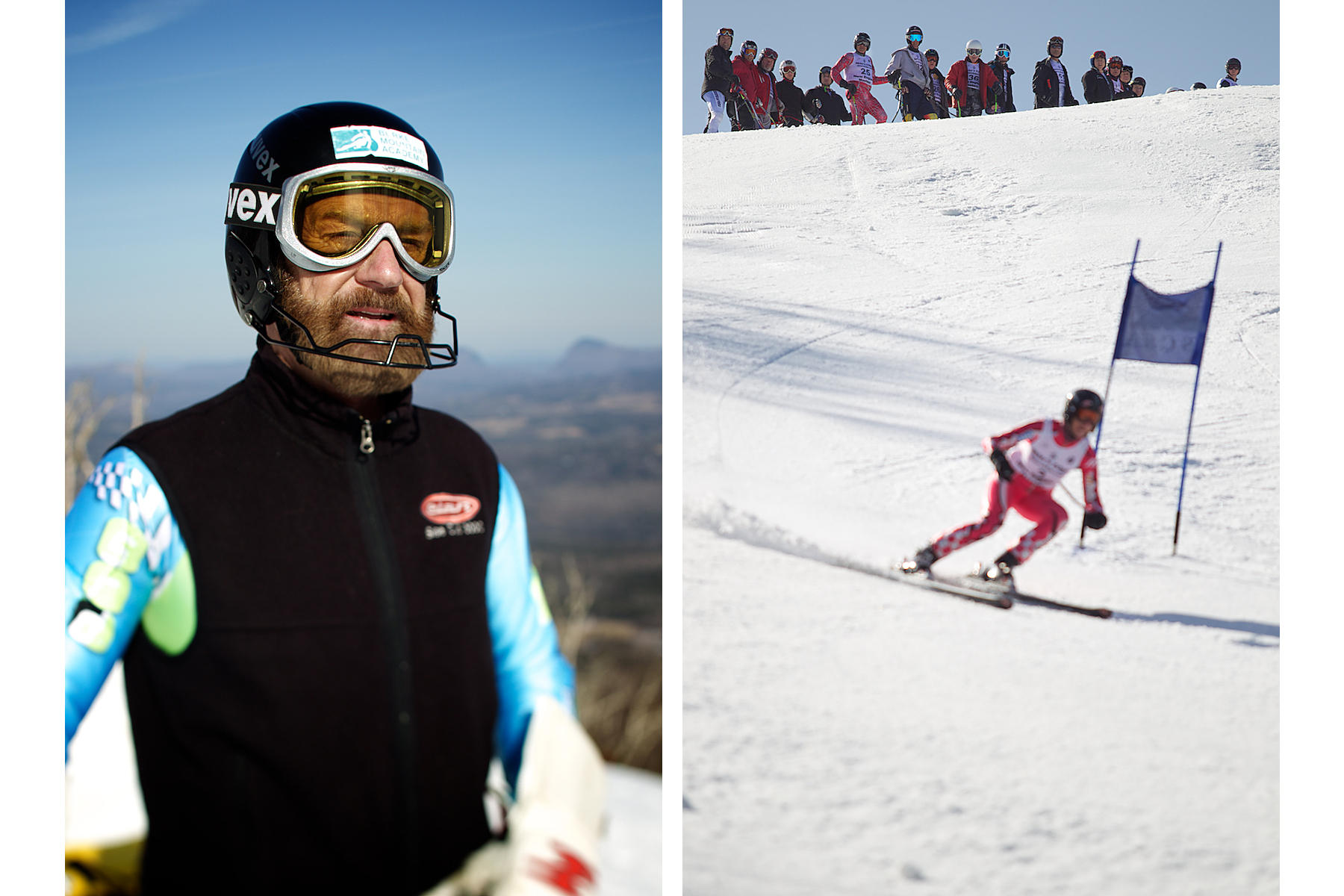 Senior Ski Racers competeing in Vermont.