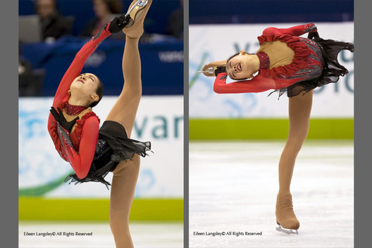 A double image of Mao Asada (Japan) performing spins in her free programme at the 2010 Vancouver Winter Olympic Games.