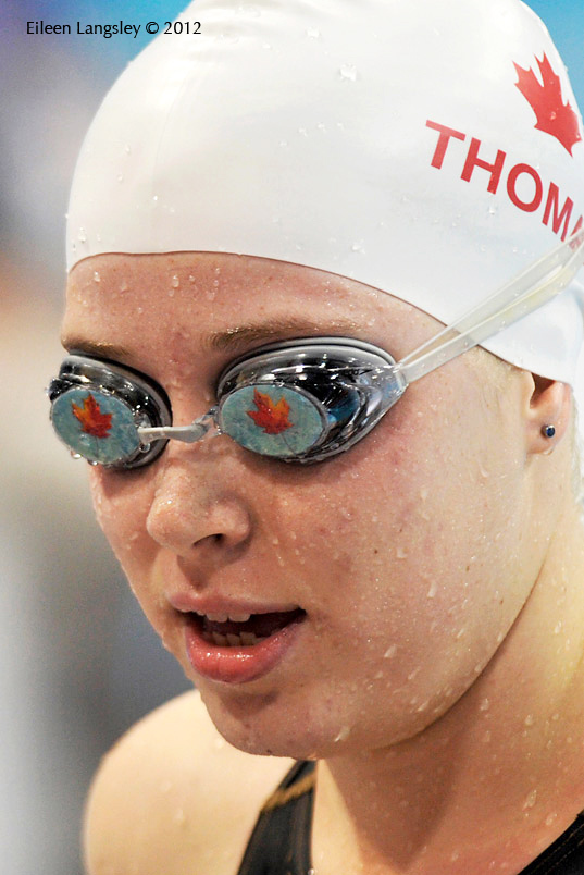 Canada's Amber Thomas sports a pair of goggles decorated with the Matple Leaf during the swimming competition at the 2012 London Paralympic Games.
