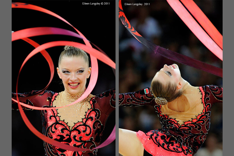 Melitina Staniouta (Belarus) competing with Ribbon at the World Rhythmic Gymnastics ChampioAustrianships in Montpellier.