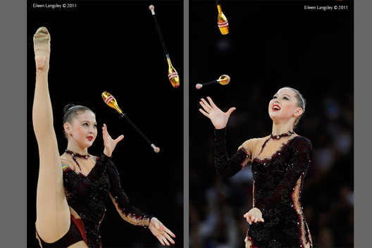 Alina Maksymova (Ukraine) competing with Clubs at the World Rhythmic Gymnastics Championships in Montpellier.