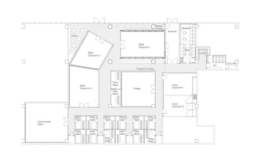 Plan of ART PLUS I, a Children Performing Art Education Center designed by Singapore-based AND lab in Beijing