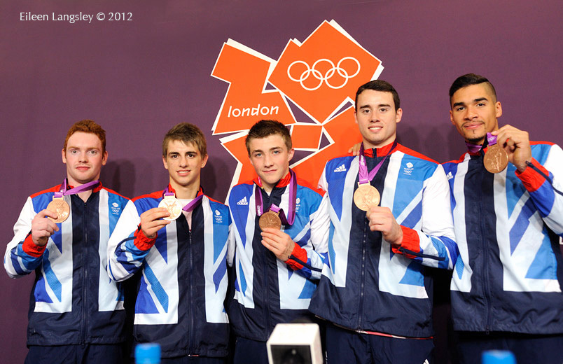 The British men's team pose with their bronze medals from the team competition of the Gymnastics event at the 2012 London Olympic Games.