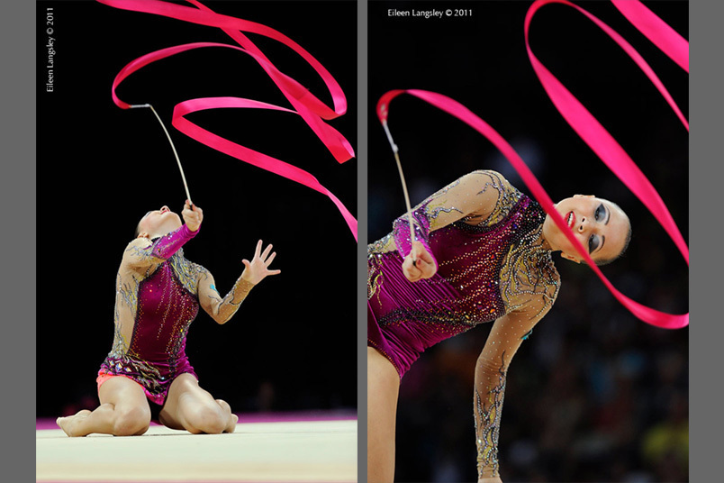 Anna Alyabyeva (Kazakhstan) competing at the World Rhythmic Gymnastics Championships in Montpellier.