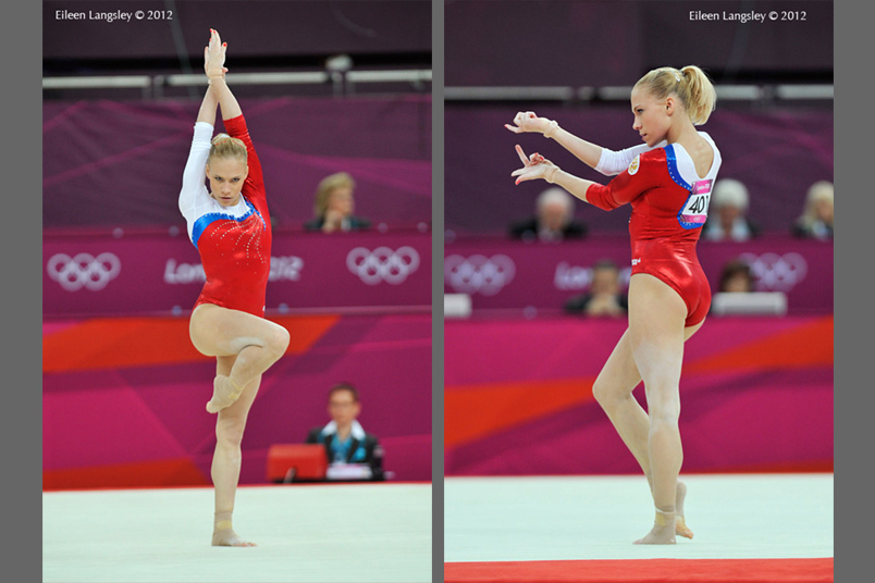 Kseniia Afanaseva (Russia) competing on floor exercise at the Gymnastics competition of the London 2012 Olympic Games.