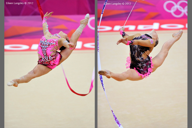 Spectacular leaps performed by Aliya Garayeva (Azerbaijan) left and Frankie Jones (great Britain) right lduring the Rhythmic Gymnastics event at the 2012 London Olympic Games.