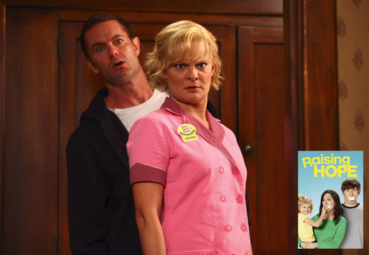 "RAISING HOPE: Virginia (Martha Plimpton, R) and Burt (Garret Dillahunt, L) find an unwelcome surprise when they come home from work in the ""Hey There, Delilah"" episode of RAISING HOPE airing Friday, Jan. 10 (9:00-9:30 PM ET/PT) on FOX. ©2013 Fox Broadcasting Co. Cr: John P. Fleenor/FOX"