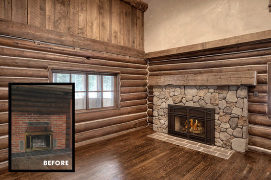 Once dark, black and plain ugly, this fireplace got a face lift (and the room got a ceiling lift!) What a cozy space now.