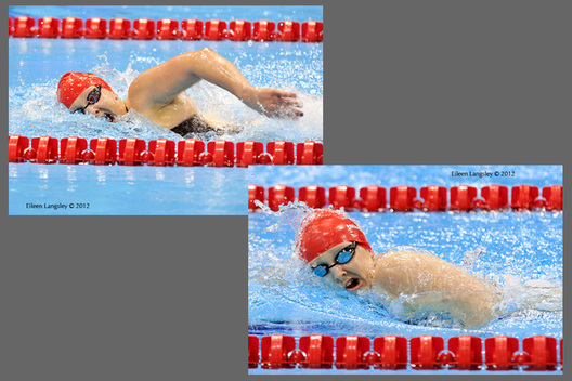 Charlotte Henshaw (Great Britain) left and Heather Frederiksen right, competing in the 400 metres S8 freestyle race during the swimming competition at the 2012 London Paralympic Games.