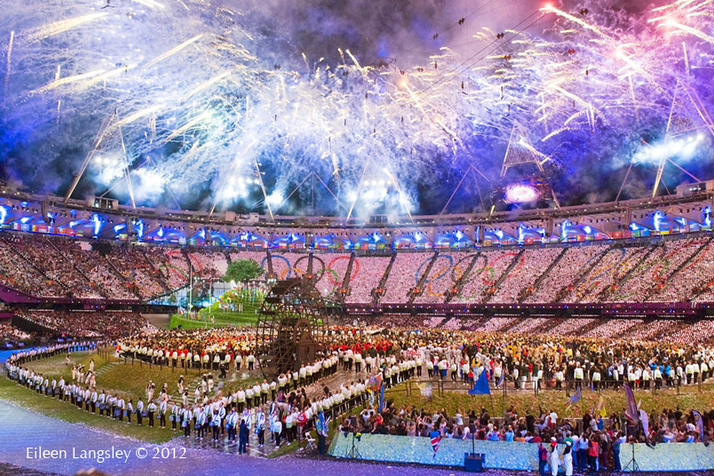 Firework display at the Opening Ceremony of the 2012 London Olympic Games.