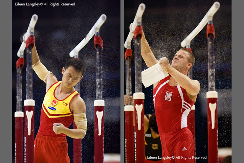A double portrait image of China's Wang Guanyin left and Poland's Adam Kierzkowski right, as they chalks up the Parallel Bars before competing at 2009 London World Artistic Gymnastics Championships at the 02 arena.