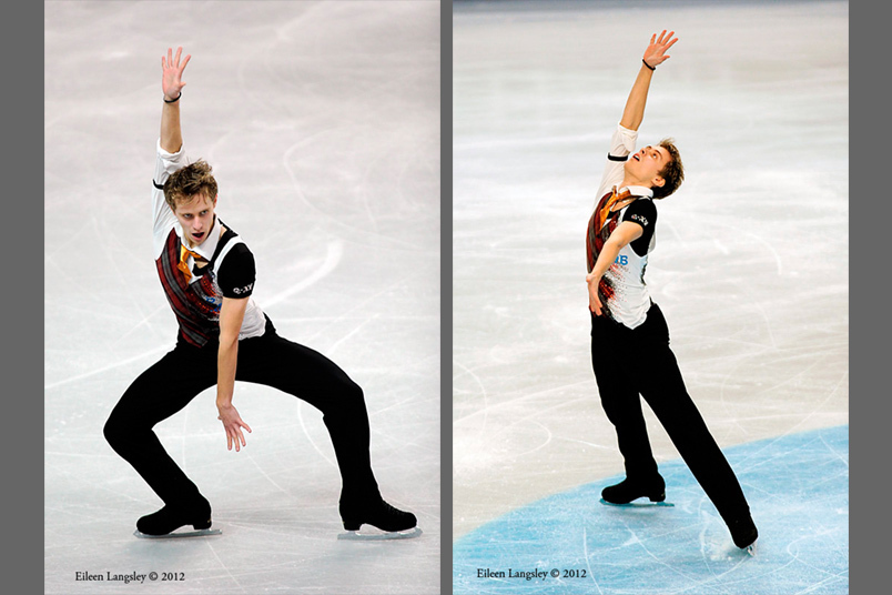 Michal Brezina (Czech Republic) competing his long programme at the 2012 European Figure Skating Championships at the Motorpoint Arena in Sheffield UK January 23rd to 29th.