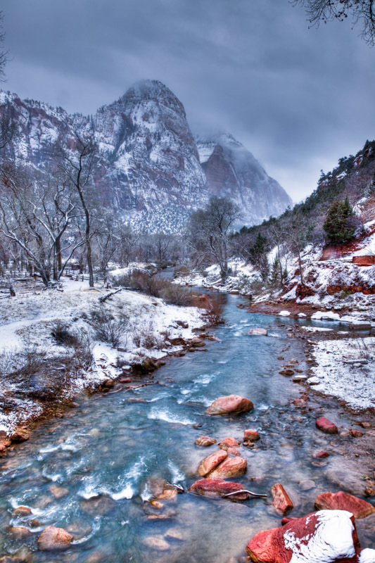 Virgin River, Zion National Park, Utah, as viewed from the base of the Emerald Pools trail.