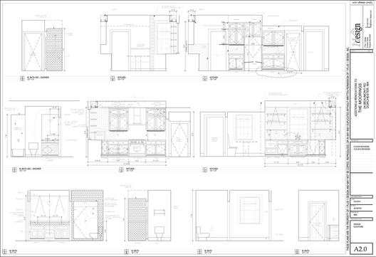 The working drawings of the proposed interior elevations illustrating cabinetry and coordination of materials. These drawings are crucial to the success of any of our projects.