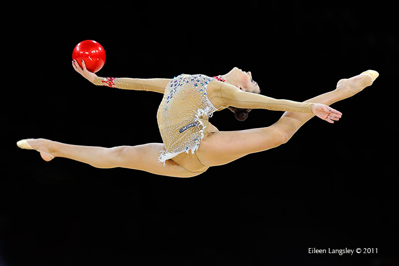 Evgenia Kanaeva (Russia) competing with Ball at the World Rhythmic Gymnastics Championships in Montpellier.