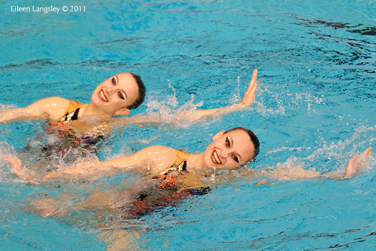 Anastasiya Mekhanikava and Darya Navaselskaya (Belarus) during their duet routine at the 2011 European Synchro Champions Cup at the Ponds Forge International Sports Centre.