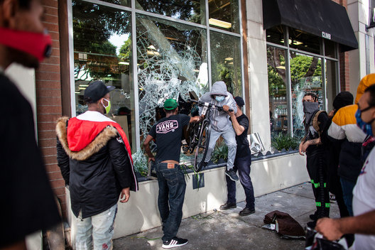 Looting of the REI Store on 4th Street, Santa Monica, California. The death of George Floyd, an African-American man in police custody, has ignited protests across the country.