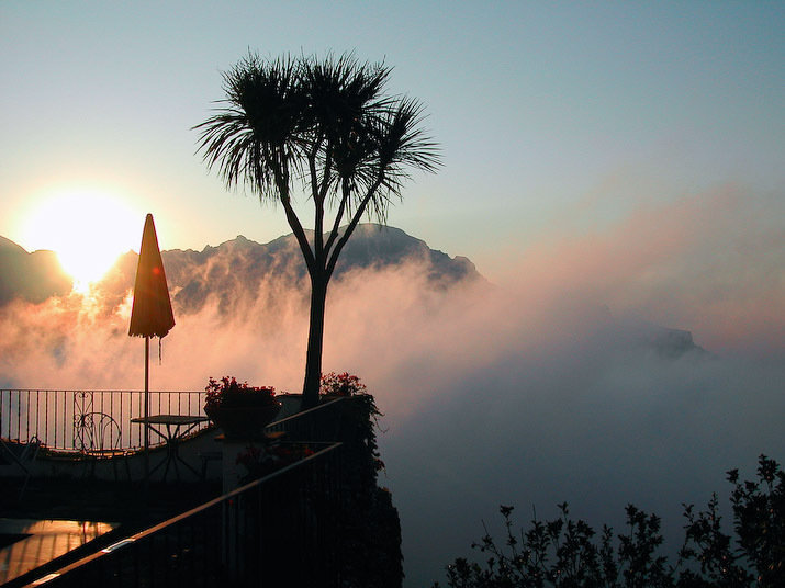 A sunrise over the Amalfi Coast in Ravello Italy