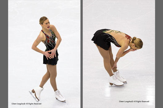 Joannie Rochette (Canada) collapses with grief at the end of her short programme skated in memory of her recently deceased mother, at the 2010 Vancouver Winter Olympic Games