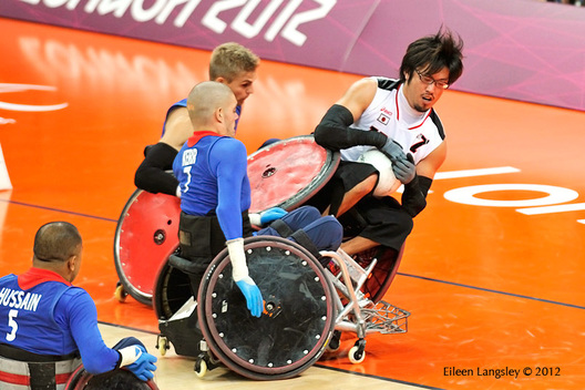 Action from the Great Britain v Japan Wheelchair Rugby match at the London 2102 Paralympic Games.