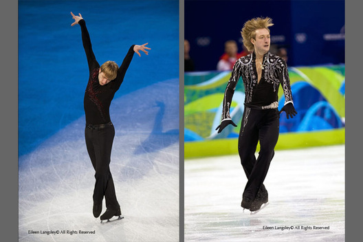 A double image of Evgeni Plushenko (Russia) illustrating his artistry and action during the exhibition (left) and short programme (right) of the men's Figure Skating competition of the 2010 Vancouver Winter Olympic Games.