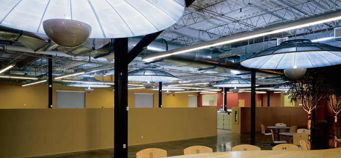 Repurposed satellite dish, direct / indirect open office general lighting pendants