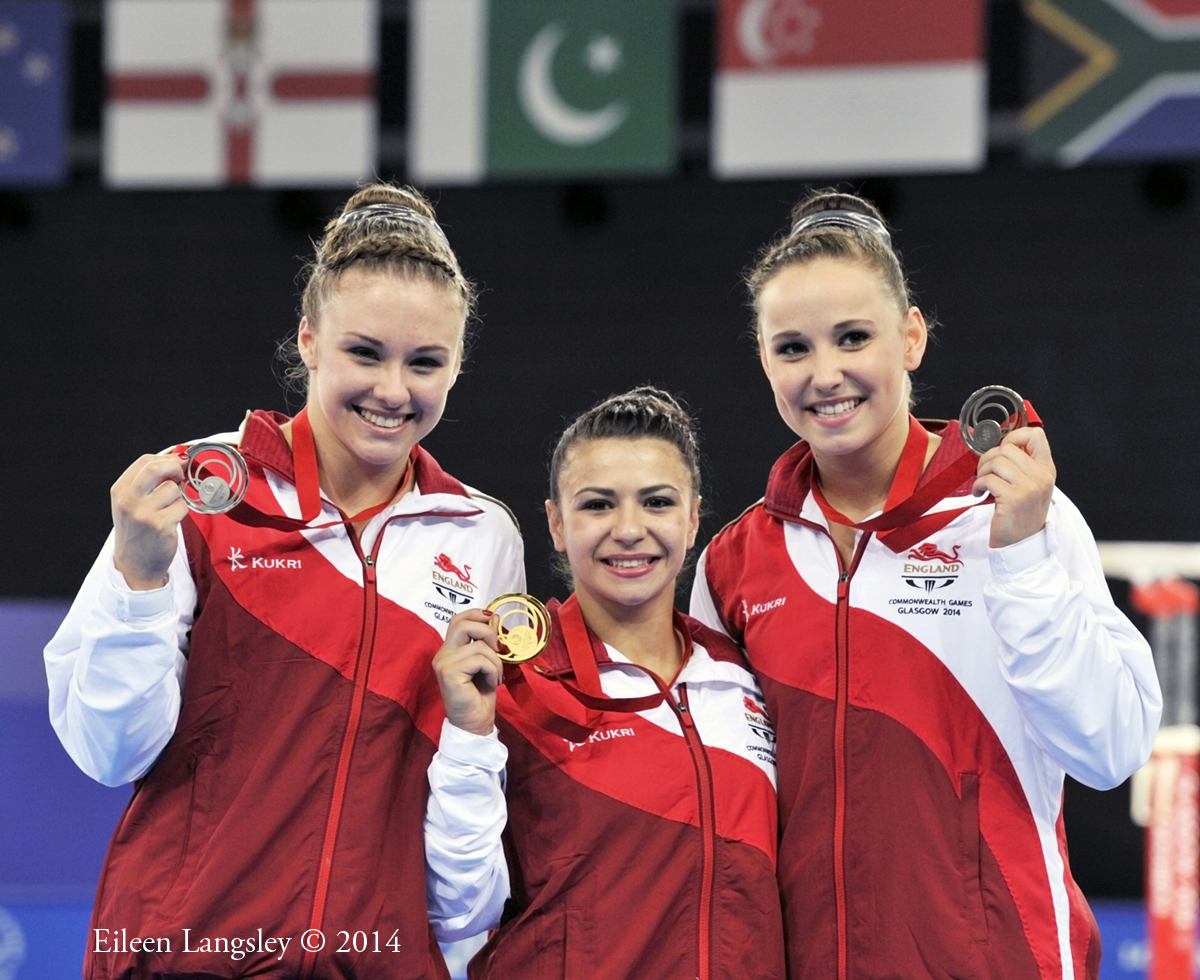 The medallists of the women's all around competition at the 2014 Glasgow Commonwealth Games (gold Claudia Fragapane, Silver Ruby Harrold, bronze Hannah Whelan all England).