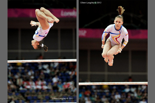 Diana Bulimar (Romania) left and Diana Chelaru right, competing on asymmetric bars at the Gymnastics competition of the London 2012 Olympic Games.