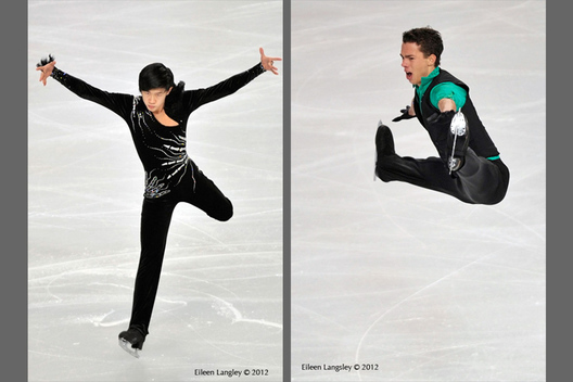 Jinlin Guan (China, left) and Jorik Henrickx (Belgium, right) competing in the short and long programme at the 2012 ISU Grand Prix Trophy Eric Bompard at the Palais Omnisports Bercy