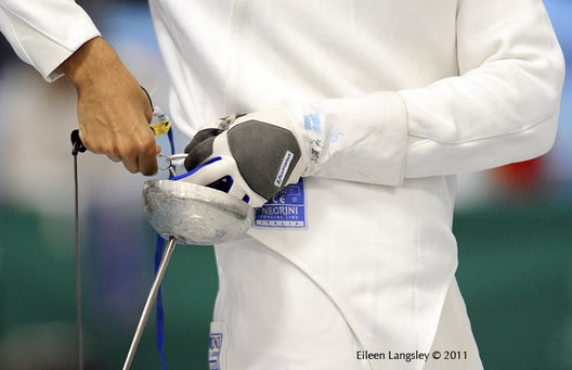 A generic image of the hands of a fencer competing in the Men's Epee event at the 2011 European Fencing Championships at the English Institute of Sport Sheffield July 18th.