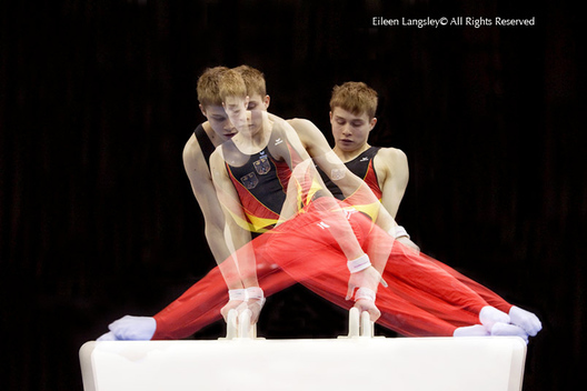 A generic multi exposure image of a young German gymnast competing on the Pommel Horse at the 2010 European Gymnastics Championships in Birmingham.