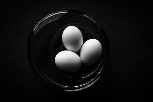 Three eggs in a bowl onverted to black & white