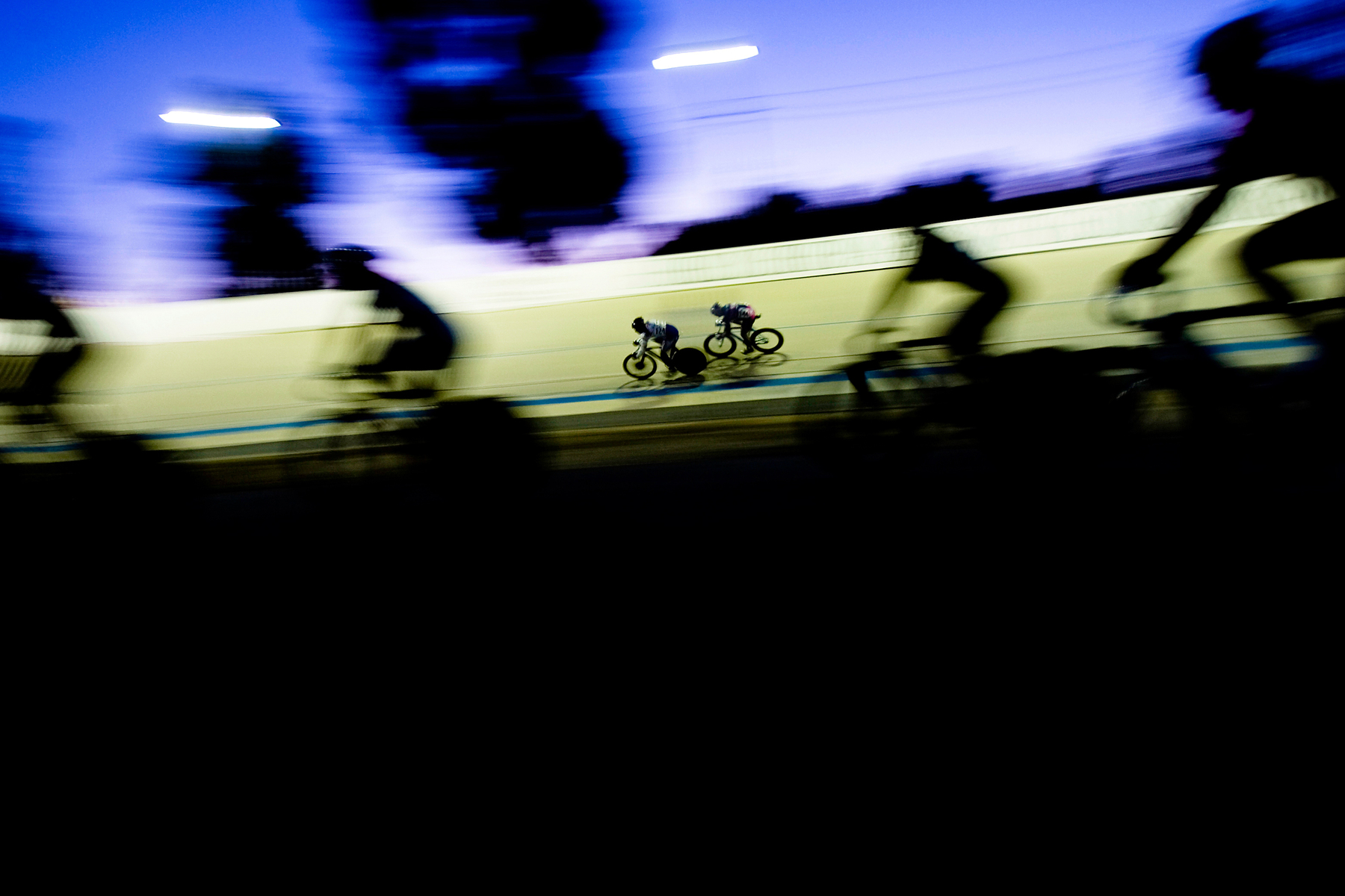 eam Spiderman's Nelson Li, right, closes in on Team Hollywood Alliance's Anton Quist during the sprint final at the U.S. Masters Track Cycling Championship at Hellyer Park Velodrome in San Jose, Calif.