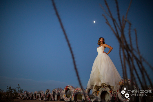Bridal portrait at night, nighttime bridal portrait from California creative wedding photographer Kathryn Cooper