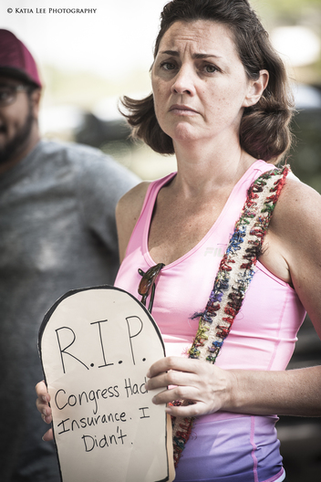 "A young mother at a ""Die In"" at Senator Tim Scott's offices, Columbia, S.C., May 2017"