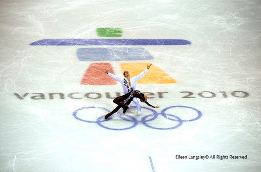 A generic image of skaters posed near the Vancouver Olympic Logo during their Free Proegramme
