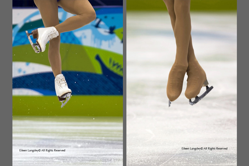 A double generic cropped image of the skating boots and feet of female skaters performing a jump while competing in the 2010 Winter Olympic Games.