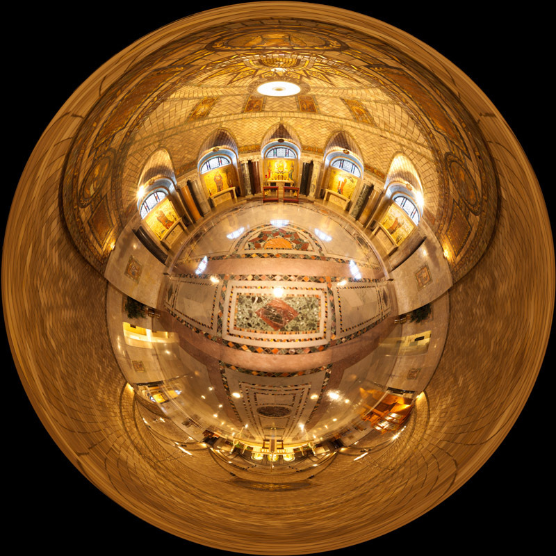 "360-degree ""little planet"" panorama of the lower crypt church in the Basilica of the National Shrine of the Immaculate Conception in Washington, DC.  Built on land donated by the Catholic University of America, the Basilica of the National Shrine of the Immaculate Conception is North America's largest Roman Catholic church and 10th largest church in the world."
