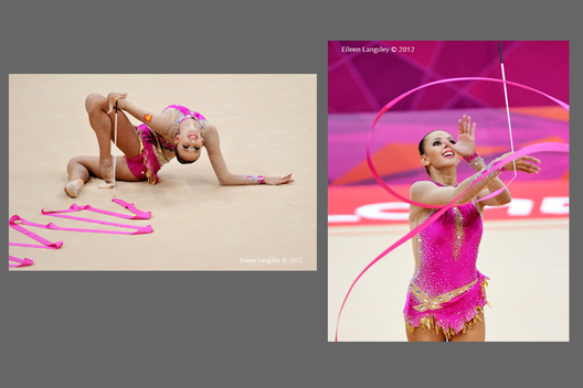 Daria Dmitrieva (Russia) winner of the silver medal competing with ribbon and hoop during the Rhythmic Gymnastics competition at the 2012 London Olympic Games.