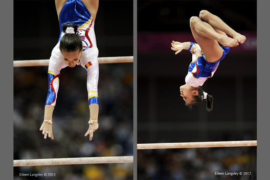 Andreea Iordache (Romania) competing on asymmetric bars during the gymnastics competition of the London 2012 Olympic Games.