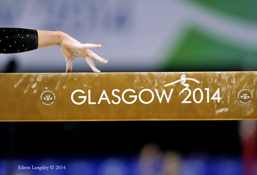 A generic image of the hand of a gymnast about to compete on beam at the 2014 Glasgow Commonwealth Games.