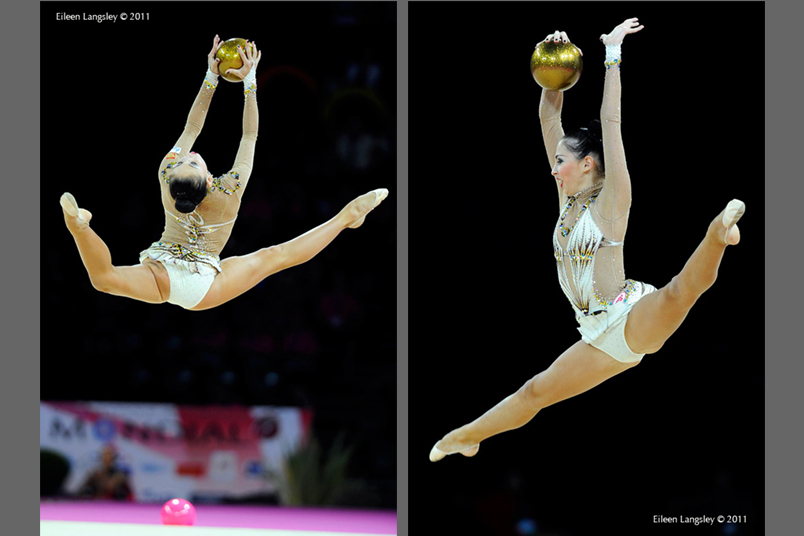 Daria Kondakova (Russia) competing with Ball at the World Rhythmic Gymnastics Championships in Montpellier.