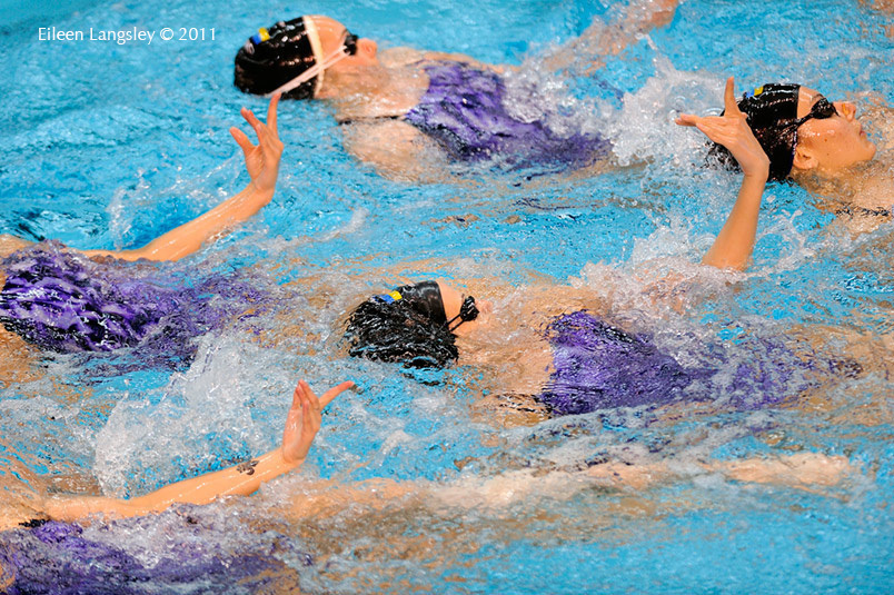 A generic image of the hands of the Ukrainian team during training at the 2011 European Synchro Champions Cup at Ponds Forge International Sports Centre Sheffield.