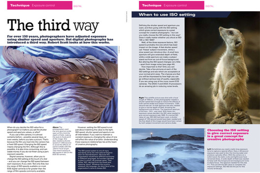 "These photos were used to illustrate an article in the April-June 2008 issue of EOS Magazine about how ISO, in conjunction with aperture and shutter speed, is used to adjust exposure.   Left: ""Wrapped in Blue,"" 1/2 page photograph.  Caption: ""The photographer used the lens aperture wide open at f4 to limit the depth-of-field, making the eyes the focal point of the image. She also needed a shutter speed of 1/200 second to avoid the effects of camera shake with the 105mm focal length. This meant setting an ISO speed of 320 on the EOS 5D camera."" Right: Mongoose, 1/2 page photograph.  Caption: